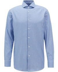 BOSS - Slim-fit Shirt In Cotton Twill With Vichy Check Pattern - Lyst