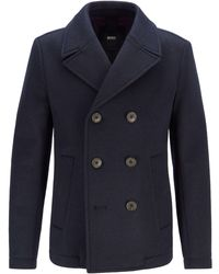 BOSS Double-breasted Felt Pea Coat With Mesh Lining - Blue