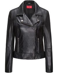 HUGO - Leather Biker Jacket With Smocked Side Panels - Lyst