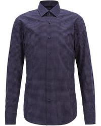 BOSS - Slim-fit Shirt In Geometric-print Italian Cotton - Lyst