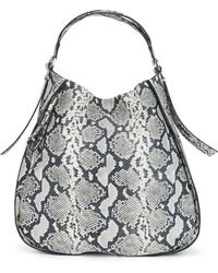 BOSS - Python-printed Hobo Bag In Italian Leather - Lyst