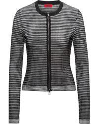 HUGO - Slim-fit Zip-through Jacket In 3d Waffle Fabric - Lyst