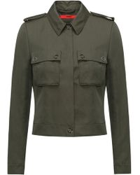 HUGO - Slim-fit Cropped Jacket With Patch Pockets - Lyst