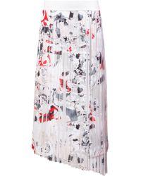 HUGO - Plissé Midi Skirt With Seasonal Print And Asymmetric Hem - Lyst