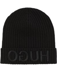 HUGO | Knitted Beanie With 3d Reversed Logo | Lyst
