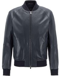 BOSS - Bomber-style Jacket In Nappa Leather With Perforated Details - Lyst