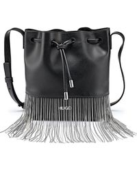 HUGO - Drawstring Bucket Bag In Italian Leather With Ball-chain Fringing - Lyst