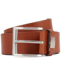 BOSS - Italian-leather Belt With Metal-trimmed Engraved Keeper - Lyst