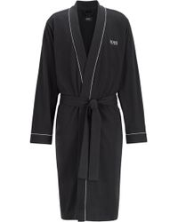 BOSS - Cotton Dressing Gown With Contrast Piping - Lyst