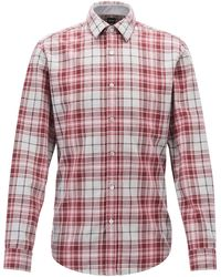 BOSS - Slim-fit Shirt In Heathered-check Cotton Twill - Lyst