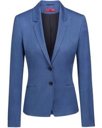 HUGO - Regular-fit Jacket In Patterned Stretch Fabric - Lyst