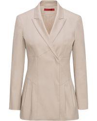 HUGO - Pleat Detail Jacket In Stretch-cotton Gabardine - Lyst