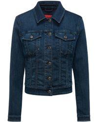 HUGO - Slim-fit Cropped Denim Jacket In Mid Blue - Lyst