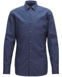 BOSS - Tailored Slim-fit Shirt In Micro-patterned Italian Cotton - Lyst