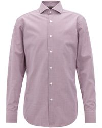 BOSS - Slim-fit Cotton Shirt With Two-color Houndstooth Pattern - Lyst