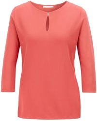 BOSS - Crepe Jersey Top With Keyhole Neckline - Lyst