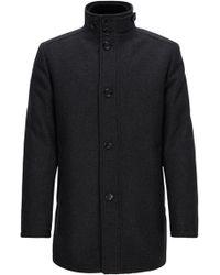 BOSS Green - Wave-blocker Coat In A Wool Blend - Lyst