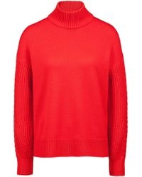 HUGO - Turtleneck Sweater In Merino Wool With Cable-knit Details - Lyst