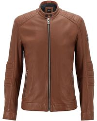 493e756687 BOSS - Slim-fit Biker Jacket In Lightly Waxed Leather - Lyst