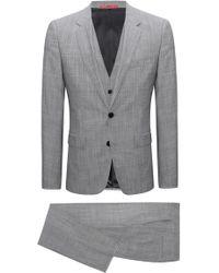 HUGO - Extra-slim-fit Three-piece Suit In Melange Virgin Wool - Lyst