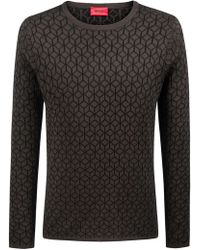 HUGO - Slim-fit Sweater In Knitted Jacquard With Geometric Pattern - Lyst