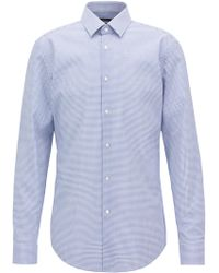 BOSS - Slim-fit Shirt In Easy-iron Checked Cotton Poplin - Lyst