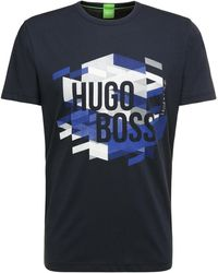 BOSS Green - Regular-fit T-shirt In Cotton With Logo Print: 'teeos' - Lyst