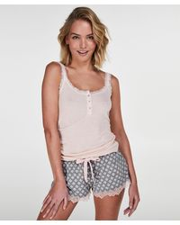 Hunkemöller Pyjama Short Jersey Lace - Grijs