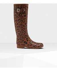 HUNTER - Leopard Print Refined Slim Fit Tall Rain Boots - Lyst
