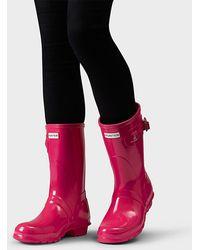 b885139cd HUNTER Women's Original Short Gloss Wellington Boots in Green - Lyst