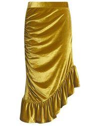 Baum und Pferdgarten Jill Ruffled Velvet Asymmetric Midi Skirt - Multicolor