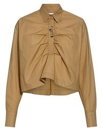 Carven - Ruched Front Cropped Shirt - Lyst