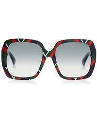 Gucci - Printed Square Sunglasses - Lyst