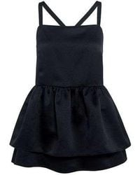 Edit - Double Layer Strappy Peplum Top - Lyst