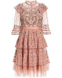 Needle & Thread - Paradise Ruffled Embroidered Tulle Mini Dress - Lyst