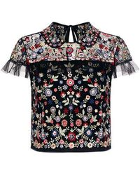 Needle & Thread - Posy Floral Embroidered Ruffle Cropped Top - Lyst