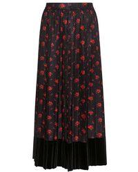 McQ - Velvet With Silk Floral Panel Pleated Midi Skirt - Lyst