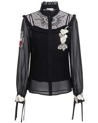 RED Valentino - Embroidered Lace Appliqued Chiffon Blouse - Lyst