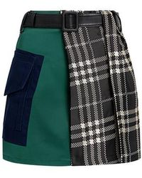 Self-Portrait - Asymmetric Color-block Plaid Belted Mini Skirt - Lyst