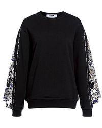 MSGM - Floral Bell Sleeve Sweatshirt - Lyst