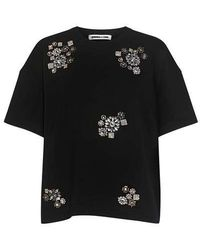 McQ - Flower Embellished Cropped T-shirt - Lyst