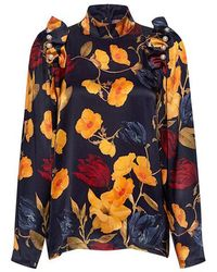 Mother Of Pearl - Senna Faux-pearl Floral Silk-satin Blouse - Lyst
