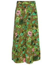 Boutique Moschino - Ruffle Front Slit Floral Midi Skirt - Lyst