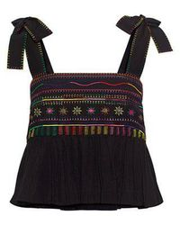 Saloni - Jools B Embroidery Ruffle Cropped Top - Lyst
