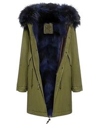 Mr & Mrs Italy - Army Patch Coyote And Murmasky Fur Lined Knee Length Parka - Lyst