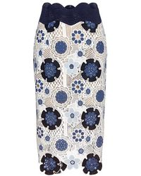 Sea - Figgy Floral Lace Pencil Skirt - Lyst