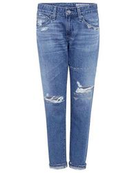 AG Jeans - Distressed Nikki Crop Skinny Jeans - Lyst