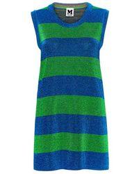 M Missoni - Metallic Striped Mini Knit Dress - Lyst