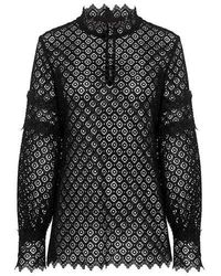 IRO - Amia High Neck Sheer Lace Top - Lyst