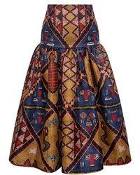 Stella Jean - Patterned High-rise Flare Midi Skirt - Lyst
